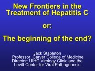 New Frontiers in Treatment of Hepatitis C Infection - Internal Medicine
