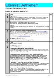 Protokoll Februar 2012 - Elternrat Bethlehem