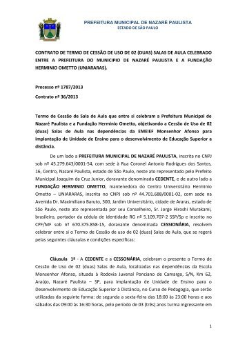 Contrato nº 36/2013 Processo nº 1787/2013 Contrato nº 36/2013