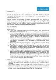 Elementis Interim Management Statement