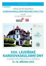 XXII. Lázeňské kardIovaskuLární dny - Česká kardiologická ...