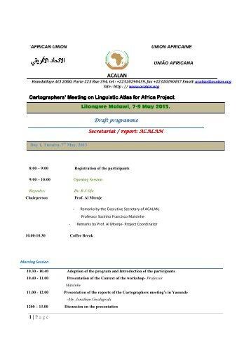 Draft programme of the workshop - ACALAN