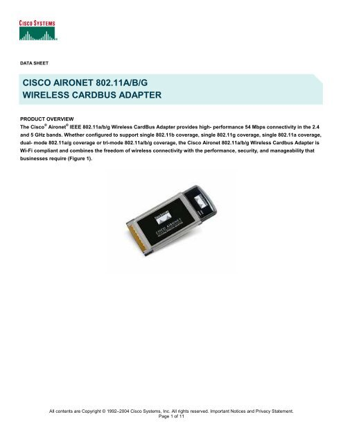 CISCO AIRONET 802.11ABG CARDBUS ADAPTER DRIVERS FOR MAC