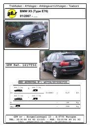 BMW X5 (Type E70) 01/2007 - …. GDW Ref. 1617T30