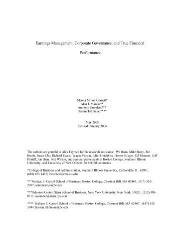 """""""Earnings Management, Corporate Governance ... - Boston College"""