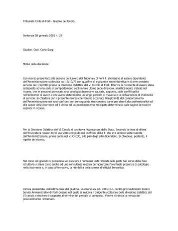 Tribunale Civile di Forlì - Giudice del lavoro Sentenza 28 ... - Frareg