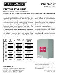 Voltage Stabilizer Brochure - Phase-A-Matic, Inc.