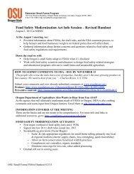 Food Safety Modernization Act Info Session - Oregon Small Farms ...