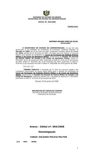 Anexo – Edital nº. 004/2008 Homologação 1 - SEAD - Governo do ...