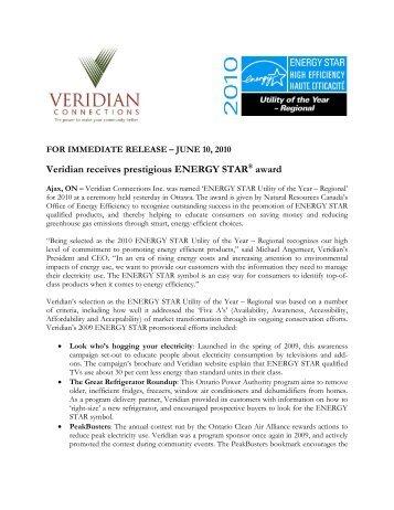 Veridian receives prestigious ENERGY STAR® award