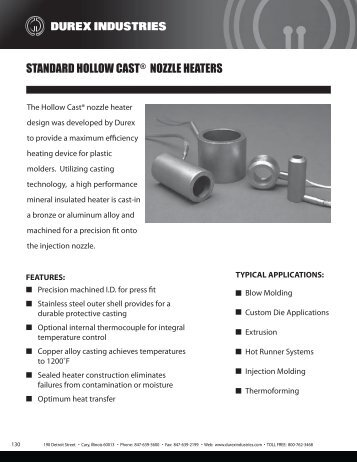 STANDARD HOLLOW CAST NOZZLE HEATERS - Durex Industries