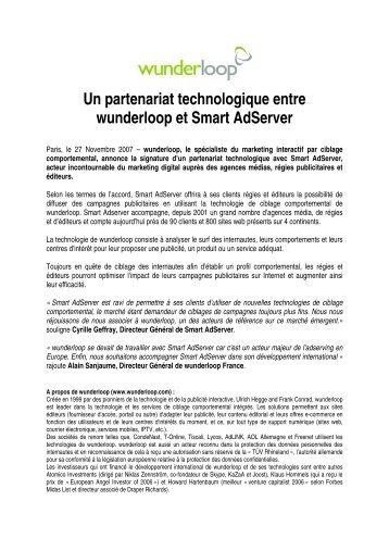 Un partenariat technologique entre wunderloop et Smart Adserver