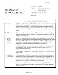 210 - Administration of Medicines - Moon Area School District
