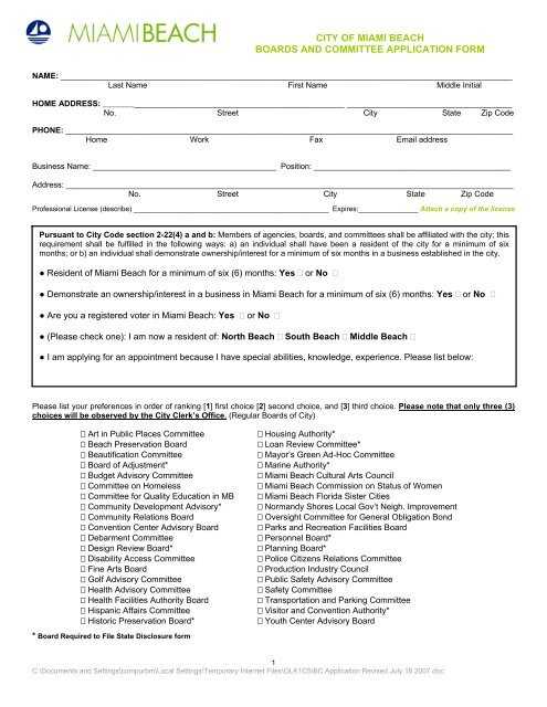 city of miami beach boards and committee application form