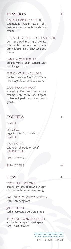 TEAS COFFEES DESSERTS - View 202