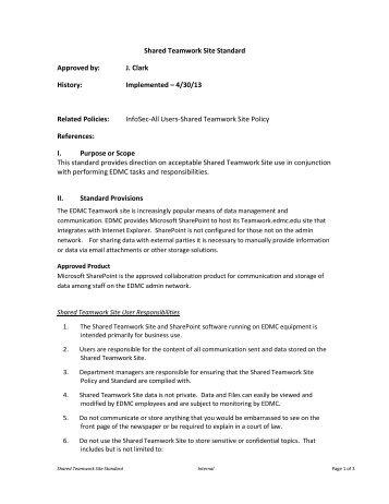 Shared Teamwork Site Standard - Education Management ...