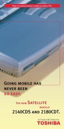 Going mobile has never been so easy. The new Satellite ... - Toshiba