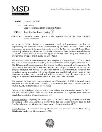 MSD's Corrective Action Update Dated 9/15/2012