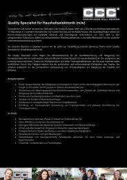 Quality Specialist für Haushaltselektronik (m/w) - Competence Call ...