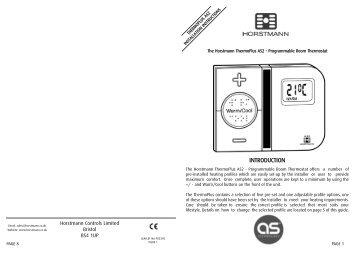 Horstmann 425 range Installation Instructions