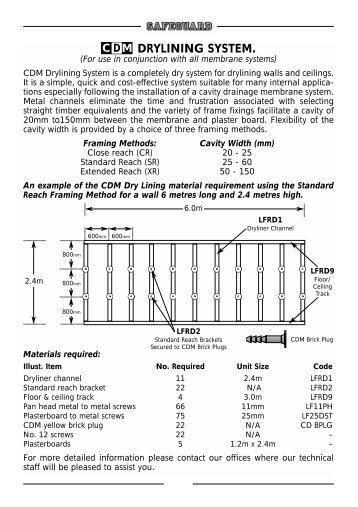 CDM Dry Lining System - Safeguard Europe Ltd.