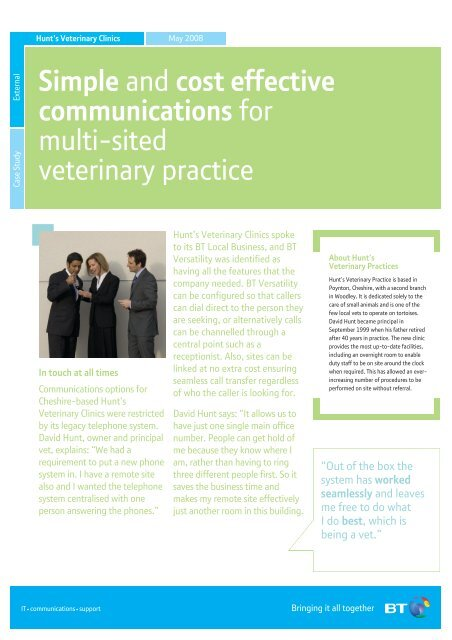 Download full Hunt's Veterinary Clinic case study PDF - BT