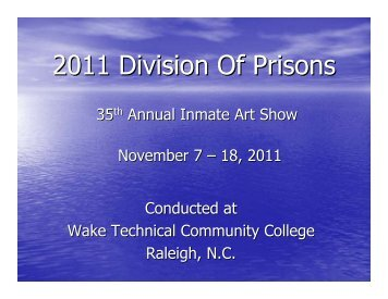 35th Annual Inmate Art Show - North Carolina Department of ...