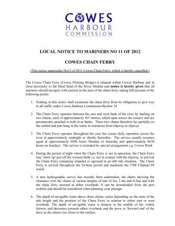 local notice to mariners no 11 of 2012 cowes chain ferry