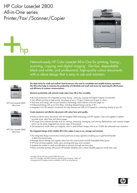HP Color LaserJet 2800 All-in-One series Printer     - Eurodocument
