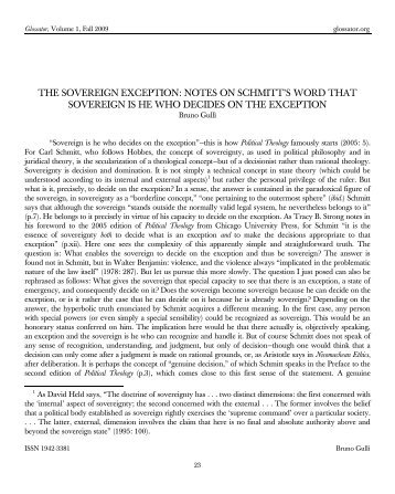 the sovereign exception: notes on schmitt's word that ... - Glossator