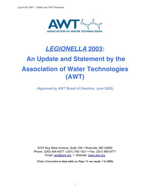 Legionella: An Update and Statement by AWT - Association of Water ...