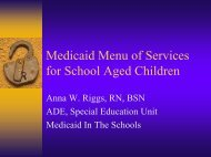Medicaid Menu of Services for School Aged Children - ADE Special ...
