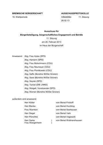 Protokoll 11. Sitzung vom 26. Februar 2013 (pdf, 65.4 KB)