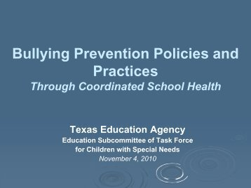 Bullying Prevention Policies and Practices through Coordinated ...
