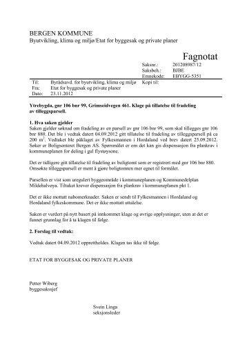 Fagnotat, datert 23.11.2012 - Bergen kommune