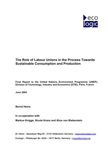 The Role of Labour Unions in the Process Towards Sustainable ...