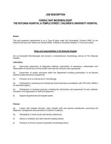 job description consultant microbiologist the rotunda hospital ...