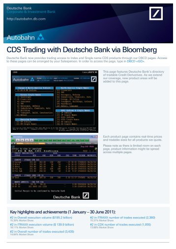 CDS Trading with Deutsche Bank via Bloomberg - Autobahn