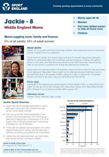 Jackie - 8 - Market Segmentation - Sport England