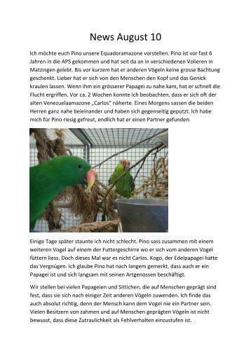 Monatsrapport August 10 - Auffangstation für Papageien und Sittiche