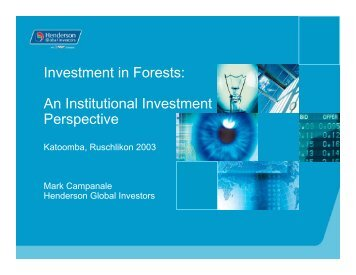 Investment in Forests: An Institutional Investment Perspective