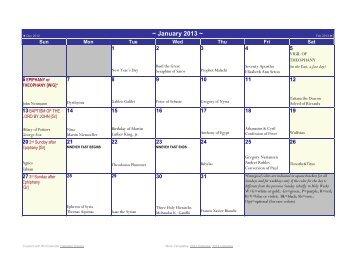 OCCA Sanctoral Calendar - The Orthodox Catholic Church of America