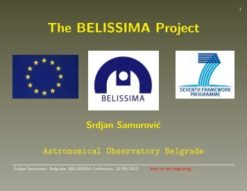 The BELISSIMA Project - Belissima - astronomical observatory ...