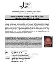 Preventing Bullying Through Leadership Training Presented by Dr ...