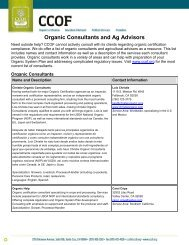 Organic Consultants and Ag Advisors - CCOF