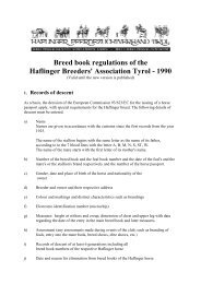 Breed book regulations of the Haflinger Breeders ... - Haflinger Tirol