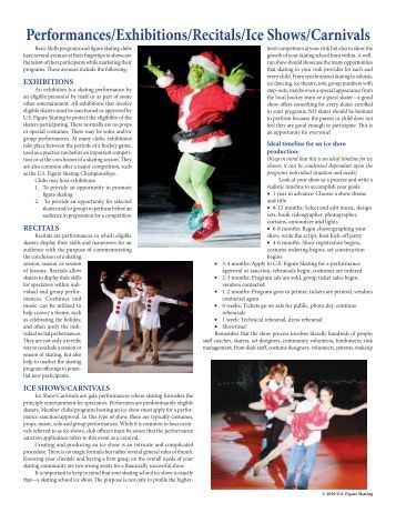 Performances/Exhibitions/Recitals/Ice Shows ... - US Figure Skating