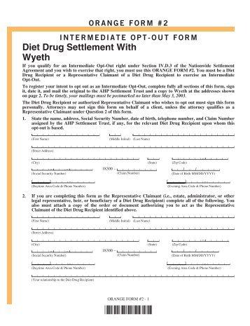 Diet Drug Settlement With Wyeth - AHP Diet Drug Settlement