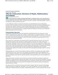 3Ms for Instruction: Reviews of Maple, Mathematica, and Matlab