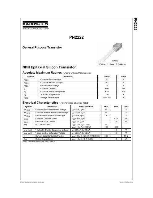 Pn2222a Datasheet Pdf Download